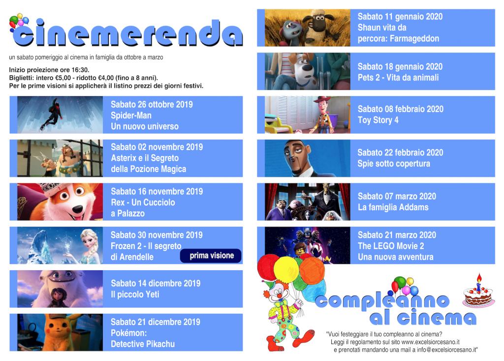 Calendario Novembre E Dicembre 2020.Excelsior Cinema Teatro Cesano Maderno Cinemerenda